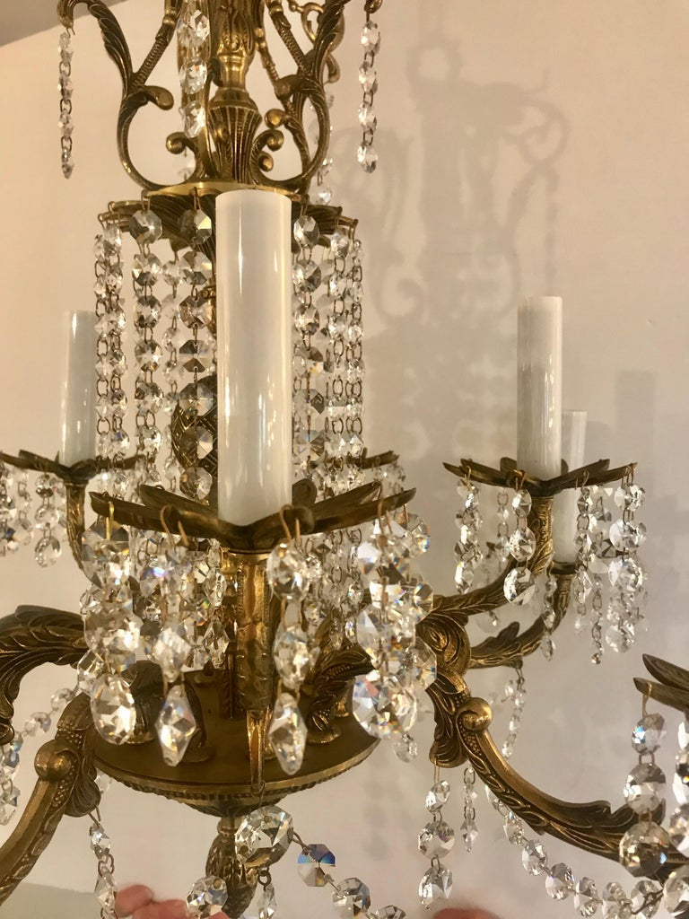 Fancy French Cottage Chandelier Brass and crystal by