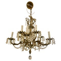 Large Romantic Vintage Spanish Brass and Crystal Chandelier