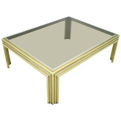 Large Romeo Rega Bi Color Coffee Table Brass Chrome and Glass, 1970s