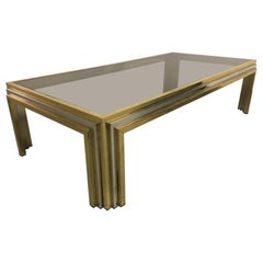 Large Romeo Rega Brass, Chrome and Tinted Glass Coffee Table, Italy, 1970s