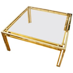 Large Romeo Rega Style Midcentury Vintage Square Bicolor Brass and Chrome Table