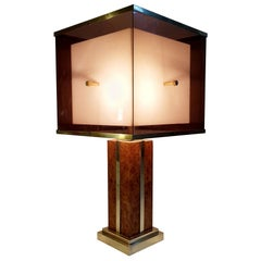 Large Romeo Rega Table Lamp in Brass and Burl, Italy