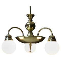 Large Rondocubistic Brass Chandelier