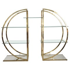 Large Room Divider Display Shelf Brass Tone Metal with Glass Shelves