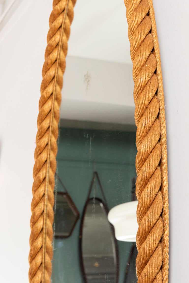 Mid-Century Modern Large Rope Mirror by Audoux and Minet For Sale