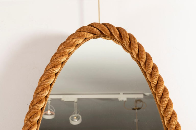 Mid-20th Century Large Rope Mirror by Audoux and Minet For Sale