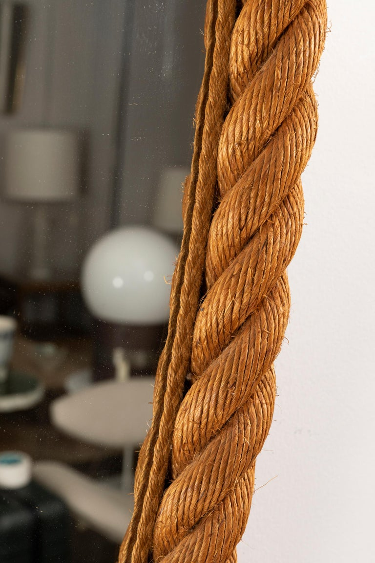 Large Rope Mirror by Audoux and Minet For Sale 1