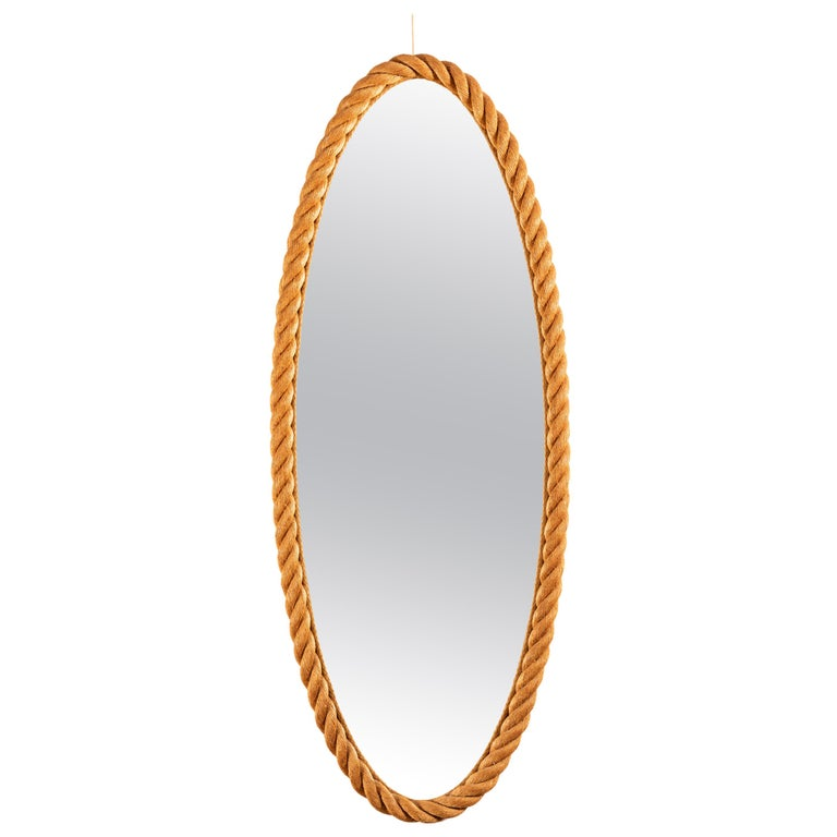 Large Rope Mirror by Audoux and Minet For Sale