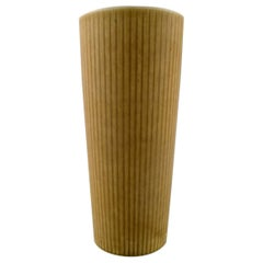 "Large Rörstrand ""Ritzi"" Ceramic Vase in Fluted Style, Sweden, 1960s"