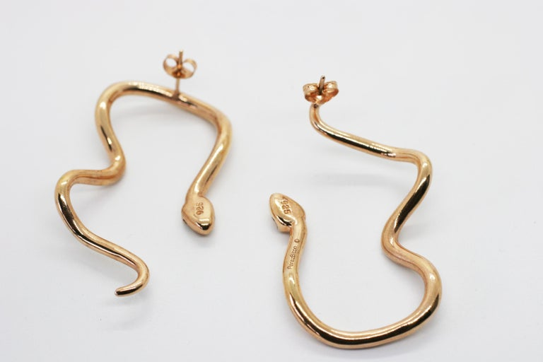 Contemporary Large Rose Gold Plated Sterling Silver Signature Snake Hoops For Sale