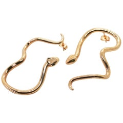 Large Rose Gold Plated Sterling Silver Signature Snake Hoops