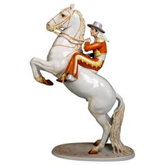 Large Rosenthal Art Deco Porcelain Figure Rider on Rearing Horse by Hugo Meisel