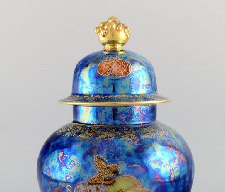 German Large Rosenthal Lidded Jar in Blue Glazed Porcelain with Hand-Painted Fruits For Sale