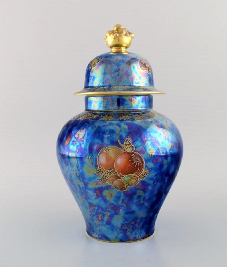 Large Rosenthal Lidded Jar in Blue Glazed Porcelain with Hand-Painted Fruits In Excellent Condition For Sale In Copenhagen, Denmark