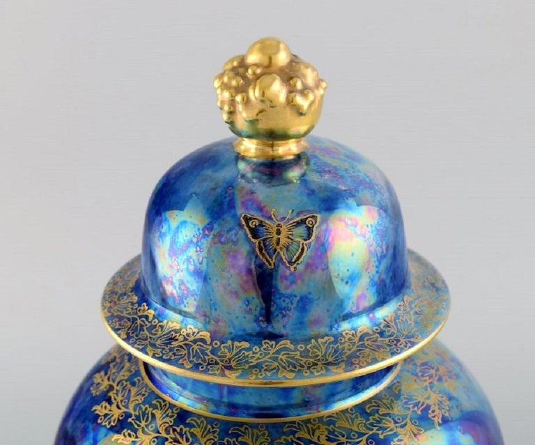 Early 20th Century Large Rosenthal Lidded Jar in Blue Glazed Porcelain with Hand-Painted Fruits For Sale