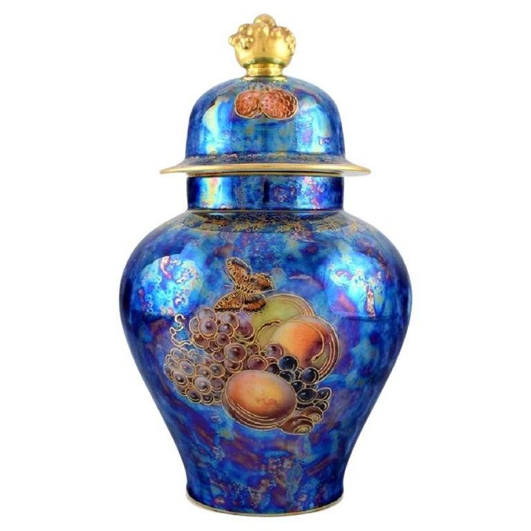 Large Rosenthal Lidded Jar in Blue Glazed Porcelain with Hand-Painted Fruits For Sale