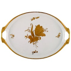 Large Rosenthal Serving Tray in Gilded Hand Painted Porcelain, Mid-20th Century