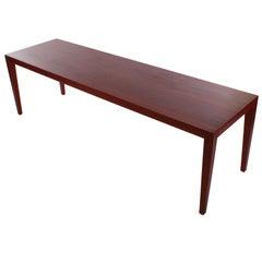Large dark wooden Coffee Table by Severin Hansen Jr. Haslev Mobelsnedkeri 1950s