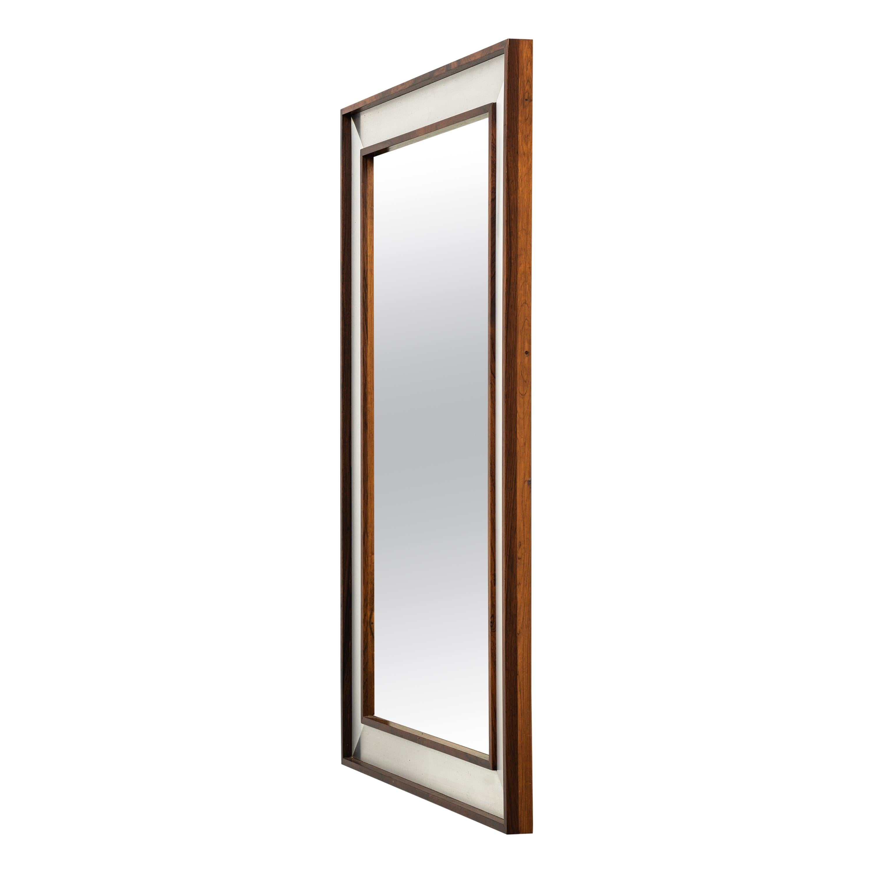 Large Rosewood Mirror with Aluminium Frame Produced by Fröseke in Sweden