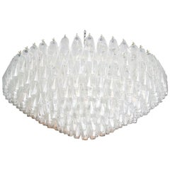 Large Round 1970s Polyhedron Glass Chandelier