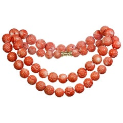 Large Round Bead Carved Coral Necklace with Gold Clasp