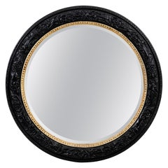 Large Round Black and Gold Mirror