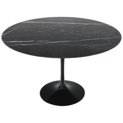Large Round Black Marble Top Tulip Base Saarinen for Knoll Dining Table