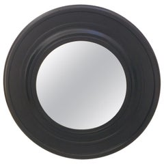 Large Round Black Painted Mirror