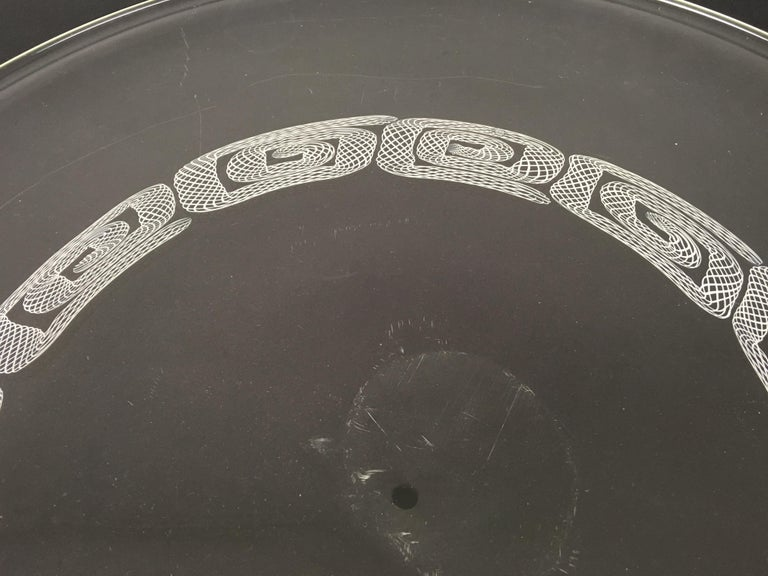 Large Round Blown Glass Plate by Seguso, Murano, Italy, 1960s-1970s For Sale 1