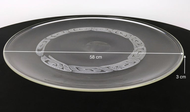 Large Round Blown Glass Plate by Seguso, Murano, Italy, 1960s-1970s For Sale 3