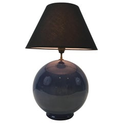 Large Round Blue Ceramic Table Lamp with Shades, French, circa 1970