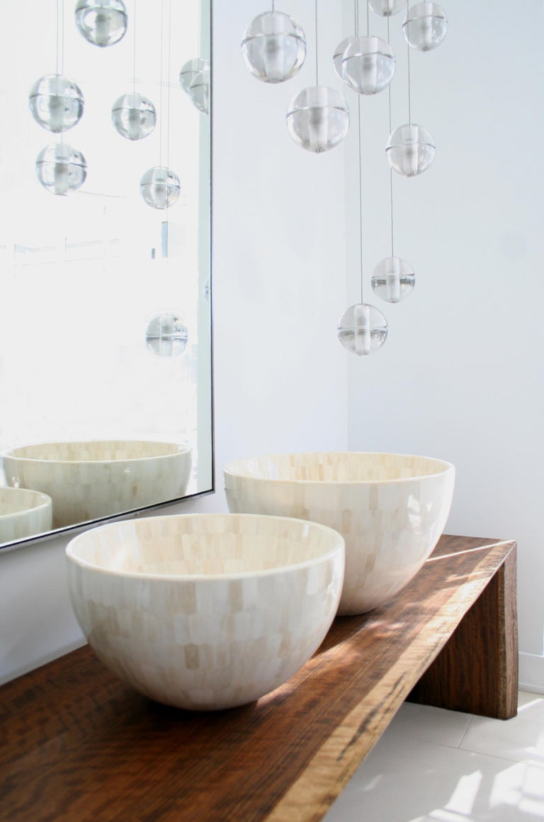 Hand-Crafted Large Round Bowls with Bone Marquetry For Sale