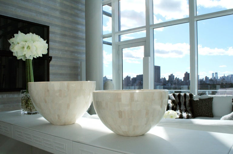 Contemporary Large Round Bowls with Bone Marquetry For Sale