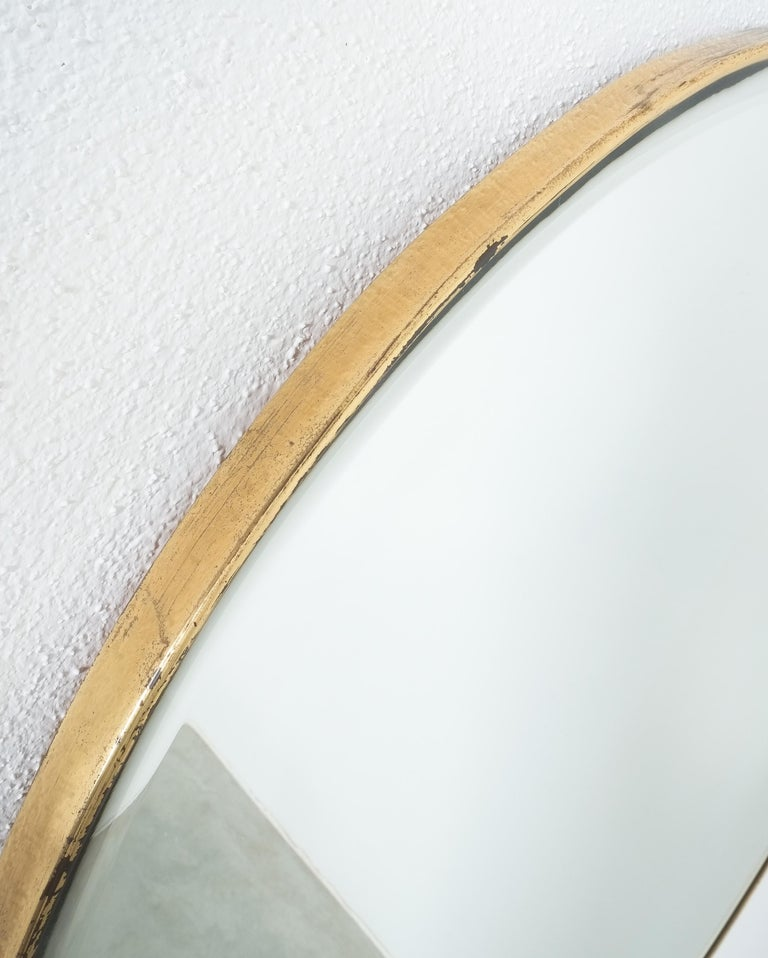 Italian Large Round Brass Wall Mirror Beveled Edges, Italy, circa 1955 For Sale