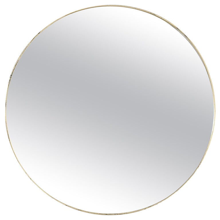 Large Round Brass Wall Mirror Beveled Edges, Italy, circa 1955 For Sale