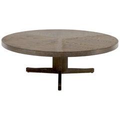 Large Round Cerused Oak Coffee Table on Triple Leg Base