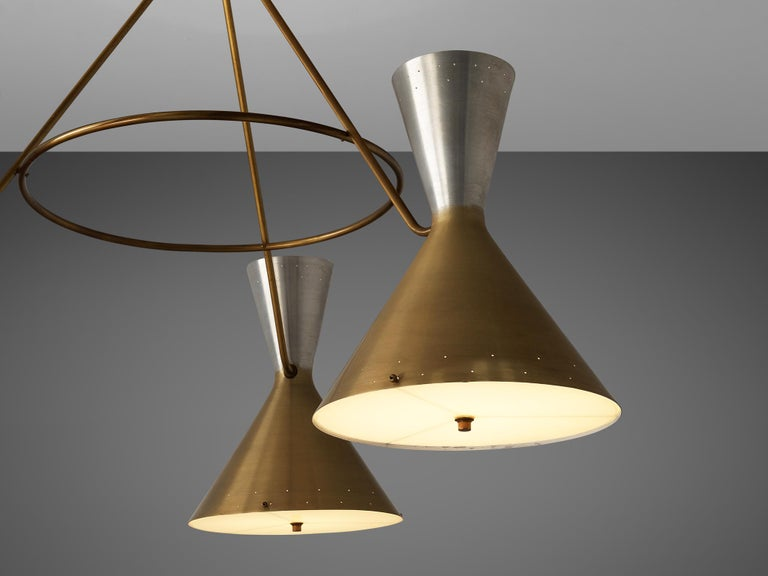 Mid-Century Modern Large Round Chandelier in Metal with Three Shades For Sale