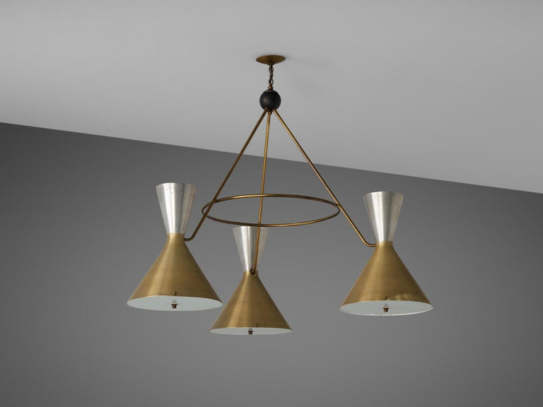 Large Round Chandelier in Metal with Three Shades In Good Condition For Sale In Waalwijk, NL