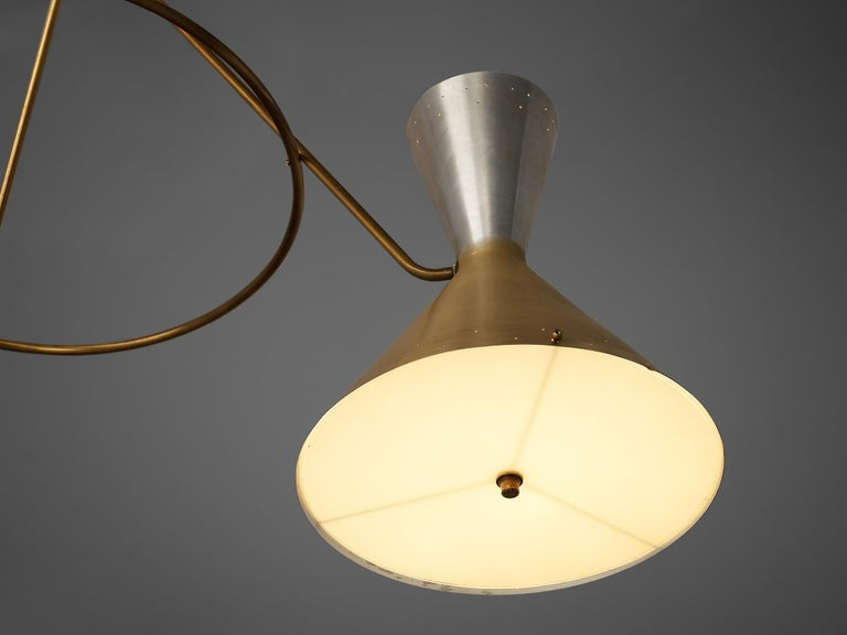 Mid-20th Century Large Round Chandelier in Metal with Three Shades For Sale