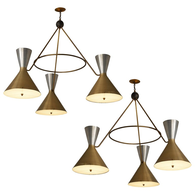 Large Round Chandelier in Metal with Three Shades For Sale