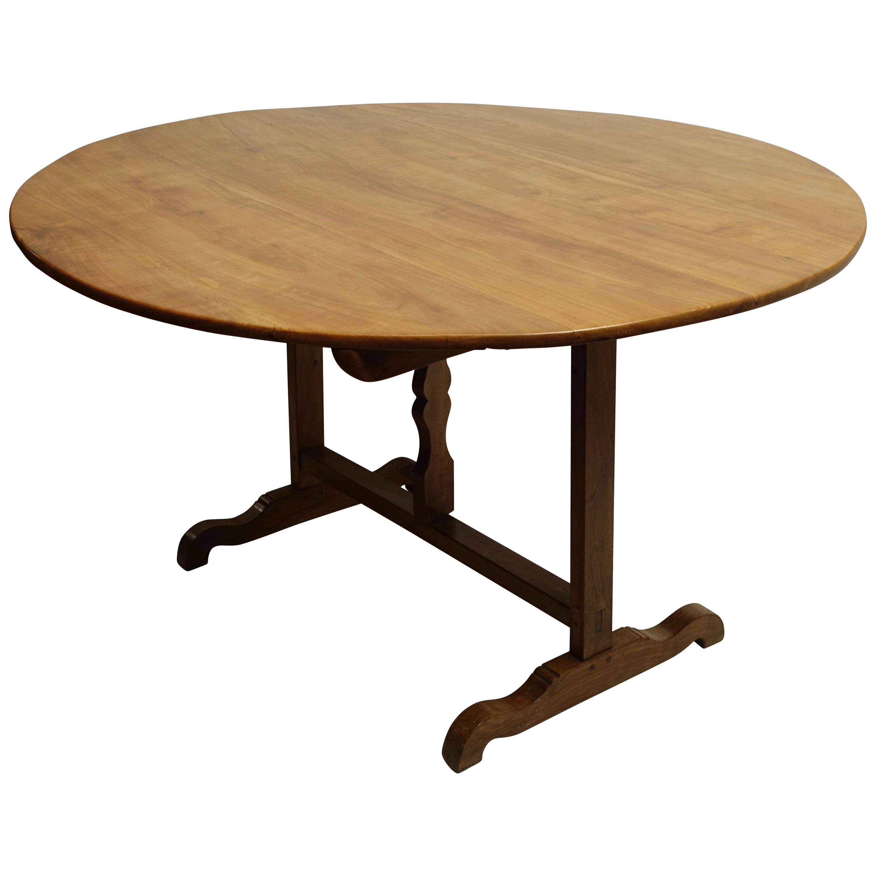 Large Round Cherrywood Wine Tasting Table, French, 19th Century