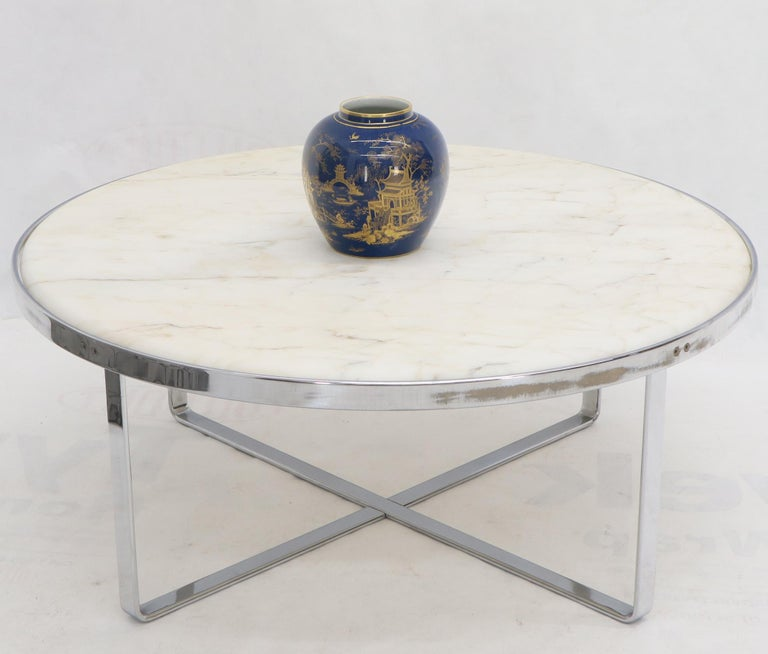 Large Round Chrome Base And Basel Marble Top Coffee Table