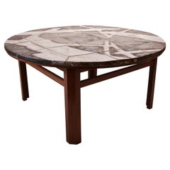 Large Round Coffee Table with Stone Plate and of Rosewood, Danish Design, 1960