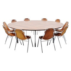 Large Round Conference Table Florence Knoll International Style, 1960