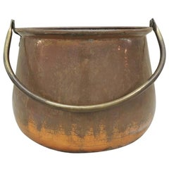 Large Round Copper and Brass Handle Cauldron