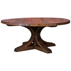 Large Round Dining Table Made from Reclaimed Maple