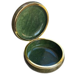 Large Round Emerald Green Alabaster Trinket Box with Hinged Lid, Italy