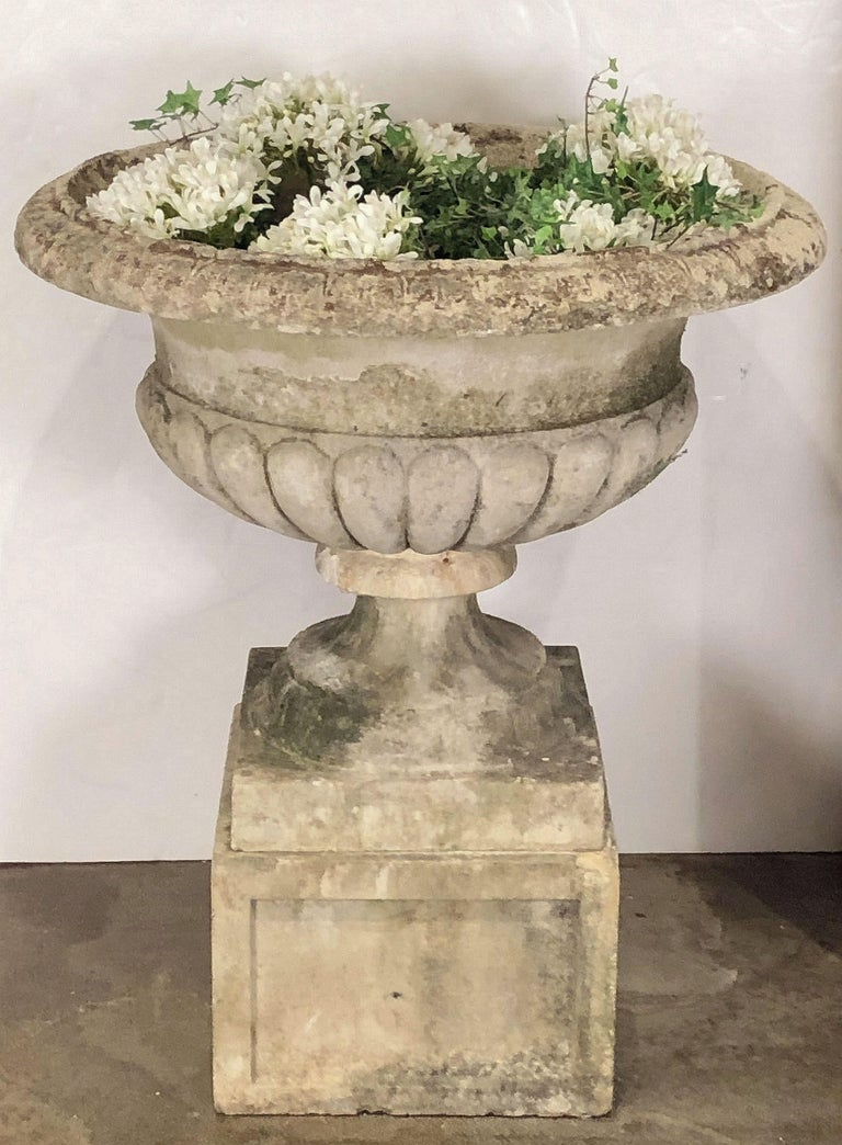 Large Round English Garden Stone Planter Or Urn On Square