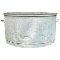 Large Round French Galvanized Tub Planter or Fountain