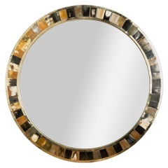 Large Round Horn Mirror in the Manner of Karl Springer, Contemporary